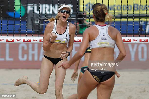 Kerri Walsh of United States celebrates during her match against Laura Ludwig and Kira Walkenhorst of Germany during the FIVB Rio Grand Slam...