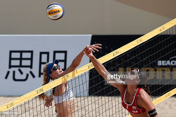 Kerri Walsh of United States in action during the 2013 FIVB World Tour Xiamen Grand Slam woman Semifinal match against Laura Ludwig of Germany on...