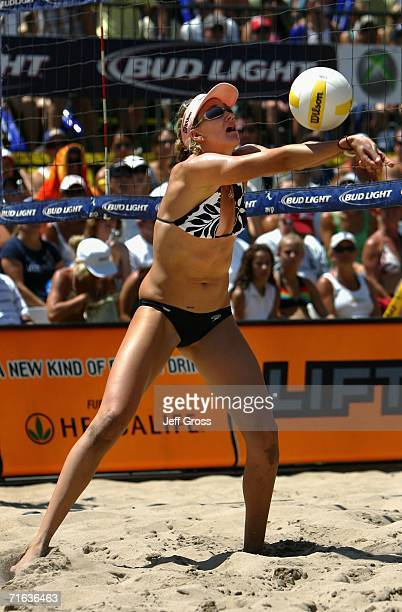 Kerri Walsh passes the ball during the AVP Manhattan Beach Open final match on August 12 2006 in Manhattan Beach California Misty MayTreanor and...