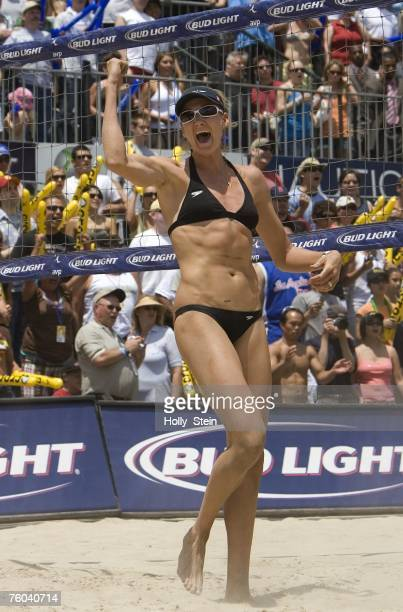 Kerri Walsh reactsl during the women's finals against Tyra Turner and Rachel Wacholder in the AVP Long Beach Open at Marina Green Park on July 21...