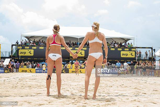 Kerri WalshJennings and April Ross stand at the end line before their finals match against Jennifer Kessy and Emily Day at the AVP New Orleans Open...