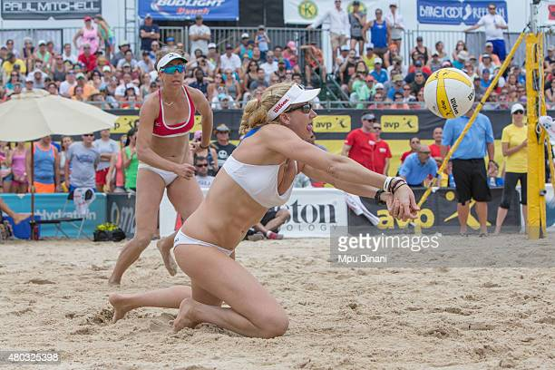 Kerri WalshJennings digs a ball as April Ross looks on during the Women's Final at the AVP New Orleans Open at Laketown on May 24 2015 in Kenner...