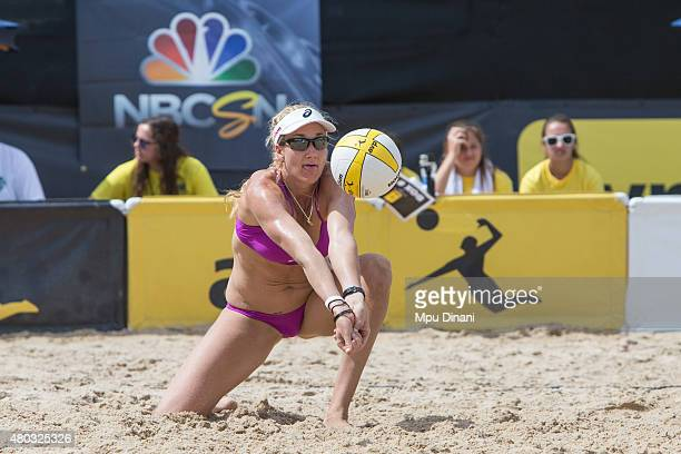 Kerri WalshJennings digs a ball during her match at the AVP New Orleans Open at Laketown on May 24 2015 in Kenner Louisiana