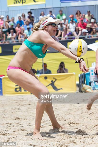 Kerri WalshJennings digs the ball during her match at the AVP New Orleans Open at Laketown on May 23 2015 in Kenner Louisiana