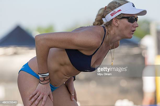 Kerri WalshJennings prepares to receive a serve at the AVP New Orleans Open at Laketown on May 23 2015 in Kenner Louisiana