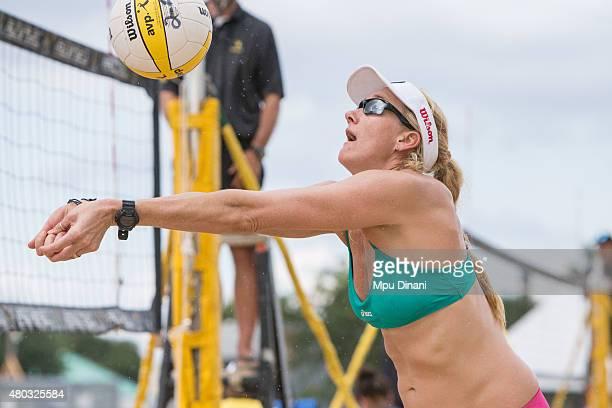 Kerri WalshJennings sets a ball at the AVP New Orleans Open at Laketown on May 23 2015 in Kenner Louisiana