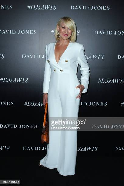 KerriAnne Kennerley arrives ahead of the David Jones Autumn Winter 2018 Collections Launch at Australian Technology Park on February 7 2018 in Sydney...