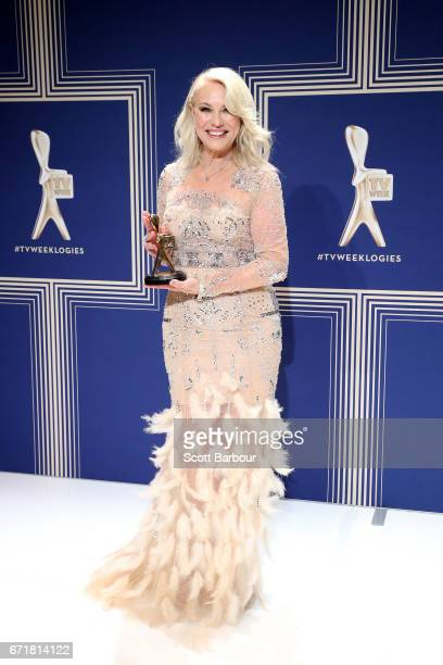 KerriAnne Kennerley poses with the Hall Of Fame Logie Award during the 59th Annual Logie Awards at Crown Palladium on April 23 2017 in Melbourne...