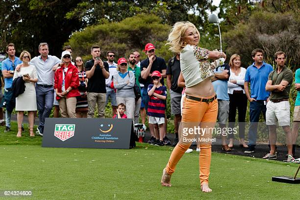 KerriAnne Kennerley teesoff at the Tag Heuer Hole in One Challenge at the Royal Sydney Golf Club on November 19 2016 in Sydney Australia