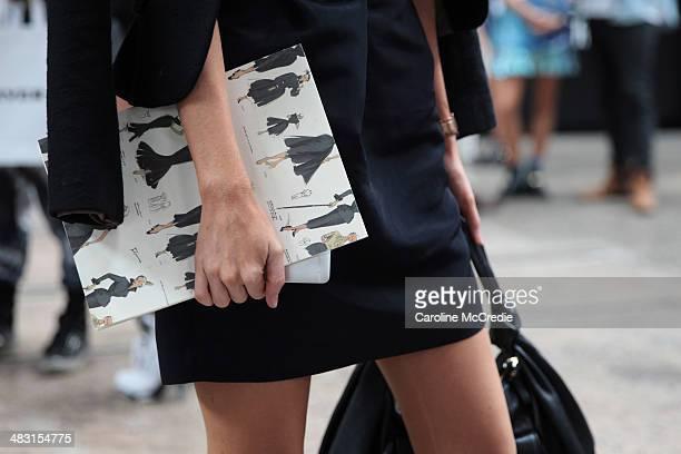 Kerrie Hess wears an outfit by Tara Jarmon Paris at MercedesBenz Fashion Week Australia 2014 at Carriageworks on April 7 2014 in Sydney Australia