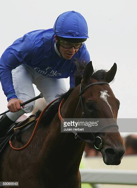 Kerrin McEvoy and the Godolphin trained Shamardal land The St Jame's Palace Stakes Race run at York Racecourse on June 14, 2005 at York, England....
