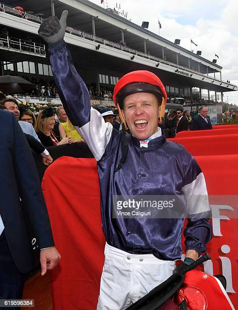 Kerrin McEvoy celebrates after Almandin won Race 7 the Emirates Melbourne Cup on Melbourne Cup Day at Flemington Racecourse on November 1 2016 in...