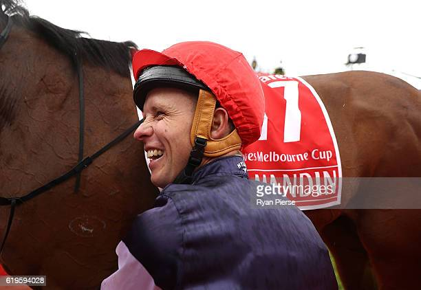 Kerrin McEvoy celebrates after he rode Almandin to win race 7 the Emirates Melbourne Cup on Melbourne Cup Day at Flemington Racecourse on November 1...