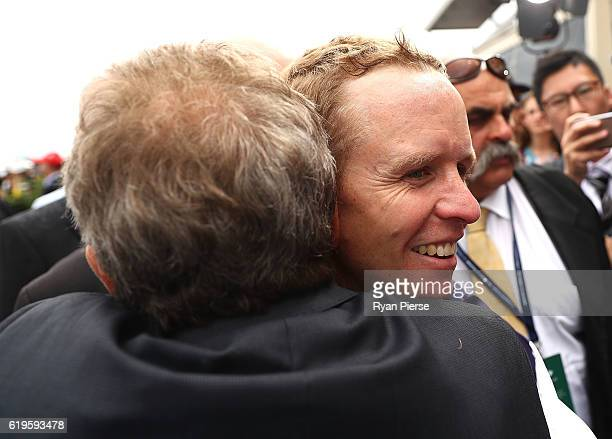 Kerrin McEvoy is congratulated after winning riding Almandin to win race 7 the Emirates Melbourne Cup on Melbourne Cup Day at Flemington Racecourse...