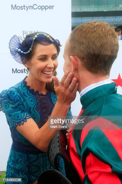 Kerrin McEvoy kisses wife Cathy after winning race 7 the Mostyn Copper Randwick Guineas on The Autumn Sun during Sydney Racing at Royal Randwick...