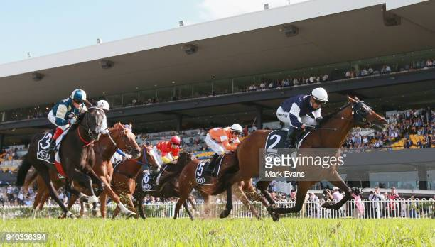 Kerrin McEvoy on Almandin wins race 6 the Tancred Stakes during Sydney Racing at Rosehill Gardens on March 31 2018 in Sydney Australia