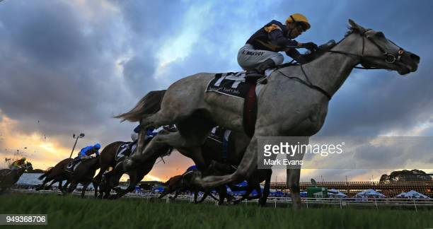Kerrin McEvoy on Tribal Wisdom wins race 9 during the All Aged Stakes Day as part of Sydney Racing at Royal Randwick Racecourse on April 21 2018 in...