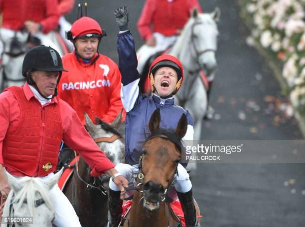 Kerrin McEvoy reacts after winning the Melbourne Cup on Almandin at Flemington Racecourse in Melbourne on November 1 2016 Almandin pipped Heartbreak...