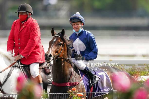 Kerrin McEvoy returns to the mounting yard aboard Do You Reckon after winning the Melbourne Cup Carnival Country Final at Flemington Racecourse on...