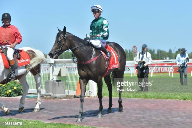 Kerrin McEvoy returns to the mounting yard on Catch Me after winning the Ladbrokes Blue Diamond Preview at Caulfield Racecourse on January 26 2019 in...