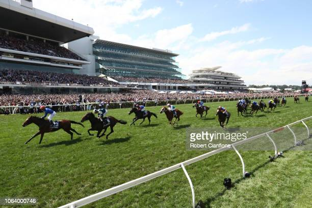 Kerrin McEvoy rides Cross Counter to win race seven the Lexus Melbourne Cup during Melbourne Cup Day at Flemington Racecourse on November 06 2018 in...