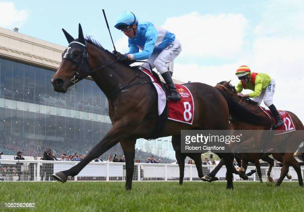 Kerrin McEvoy rides From Within to win race four the Carlton Draught Alinghi Stakes during Caulfield Cup Day at Caulfield Racecourse on October 20...