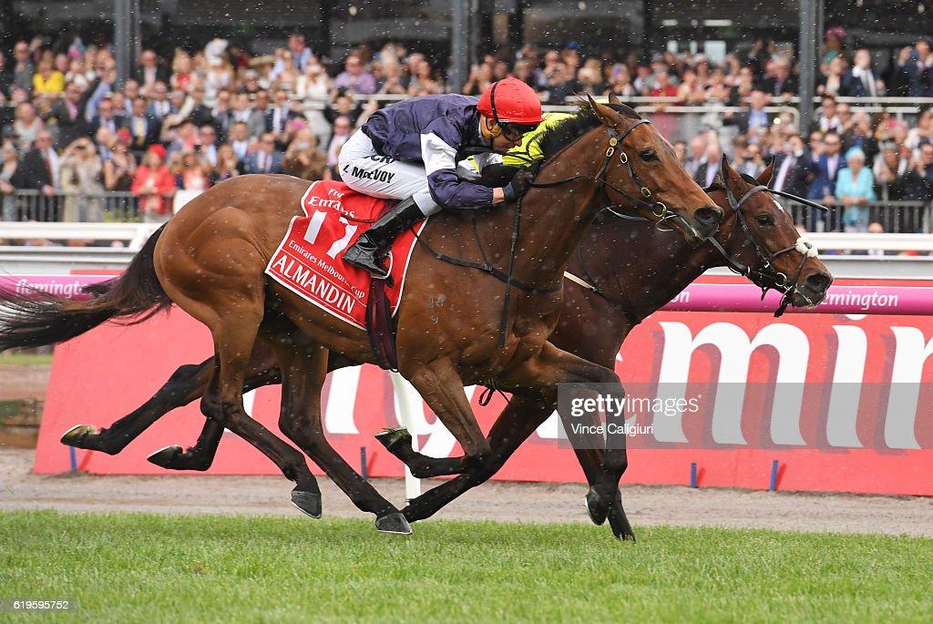 Kerrin McEvoy riding Almandin defeats Joao Moreira riding Heartbreak City to win Race 7, the Emirates Melbourne Cup on Melbourne Cup Day at Flemington Racecourse on November 1, 2016 in Melbourne, Australia.