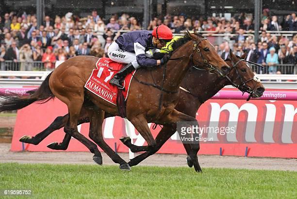 Kerrin McEvoy riding Almandin defeats Joao Moreira riding Heartbreak City to win Race 7 the Emirates Melbourne Cup on Melbourne Cup Day at Flemington...