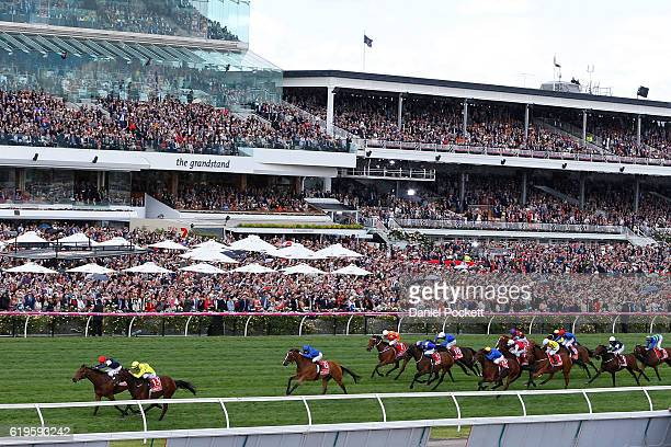 Kerrin McEvoy riding Almandin wins race 7 the Emirates Melbourne Cup on Melbourne Cup Day at Flemington Racecourse on November 1 2016 in Melbourne...