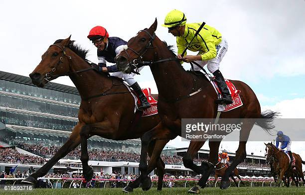Kerrin McEvoy riding Almandin wins the Emirates Melbourne Cup on Melbourne Cup Day at Flemington Racecourse on November 1 2016 in Melbourne Australia