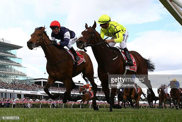 Kerrin McEvoy riding Almandin wins the Emirates Melbourne Cup on Melbourne Cup Day at Flemington Racecourse on November 1 2016 in Melbourne Australia