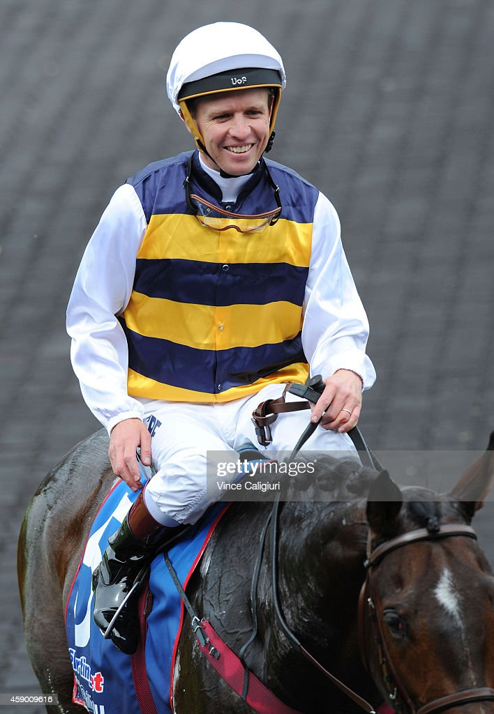 Kerrin McEvoy riding Au Revoir after winning Race 5, the Deadly Design Zipping Classic during Melbourne Racing at Sandown Hillside on November 15, 2014 in Melbourne, Australia.