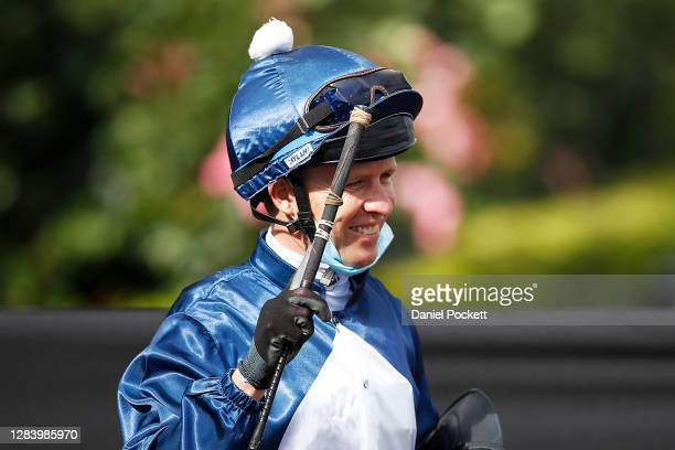 Kerrin McEvoy riding Do You Reckon celebrates after winning race seven the Melbourne Cup Carnival Country Final during 2020 Kennedy Oaks Day at...