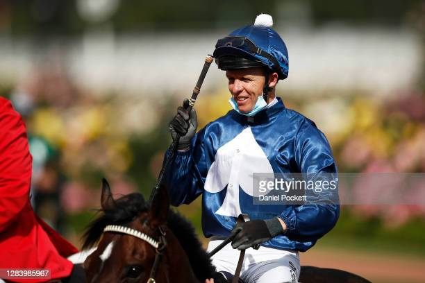 Kerrin McEvoy riding Do You Reckon returns to scale after winning race seven the Melbourne Cup Carnival Country Final during 2020 Kennedy Oaks Day at...