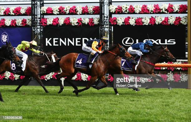 Kerrin McEvoy riding Do You Reckon wins race seven the Melbourne Cup Carnival Country Final from Mark Zahra riding Kaplumpich during 2020 Kennedy...