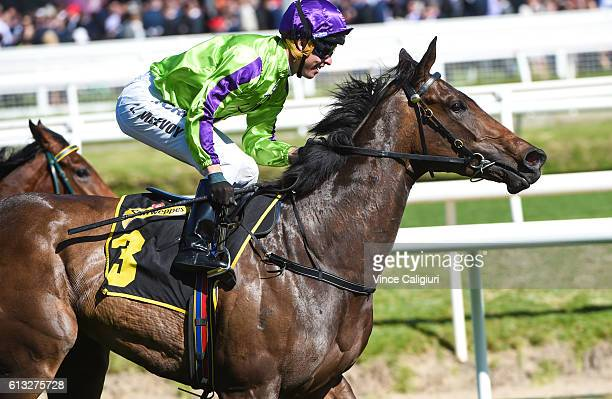 Kerrin McEvoy riding Global Glamour wins Race 7 Thousand Guineas during Caulfield Guineas Day at Caulfield Racecourse on October 8 2016 in Melbourne...