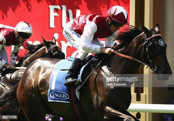 Kerrin McEvoy riding Kidnapped wins the Inglis Carbine Club Stakes during the 2009 Victoria Derby Day meeting at Flemington Racecourse on October 31...