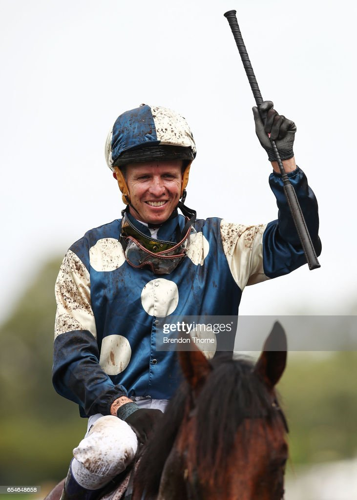 Kerrin McEvoy riding 'Our Ivanhowe' celebrates after winning Race 4, Ranvet Stakes during 2017 Golden Slipper Day at Rosehill Gardens on March 18, 2017 in Sydney, Australia.