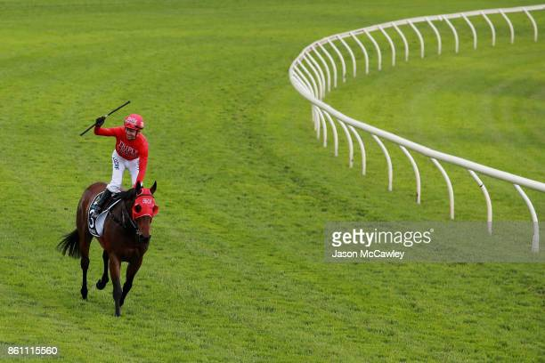 Kerrin McEvoy riding Redzel celebrates winning race 8 in The Tab Everest during The Everest Day at Royal Randwick Racecourse on October 14 2017 in...