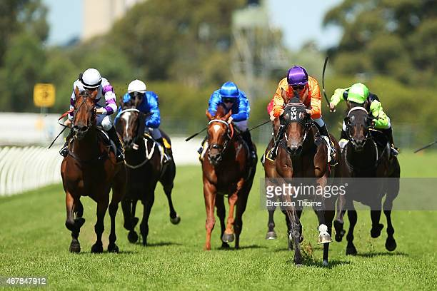 Kerrin McEvoy riding 'Takedown' wins Race 1, The Schweppervesence during Sydney Racing at Rosehill Gardens on March 28, 2015 in Sydney, Australia.