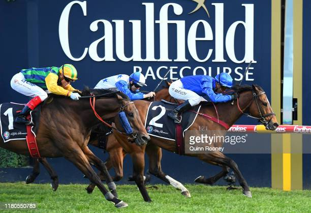 Kerrin McEvoy riding Trekking wins the Alfa Romeo Schillaci Stakes during Melbourne Racing Caulfield Guineas Day at Caulfield Racecourse on October...