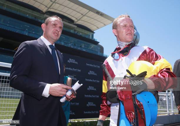 Kerrin McEvoy talks to Trainer Chris Waller after winning race 3 The Christmas Cup during Sydney Racing at Royal Randwick Racecourse on December 16...