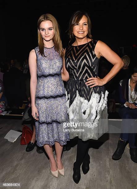 Kerris Dorsey and Mariska Hargitay pose backstage at the Lela Rose fashion show during MercedesBenz Fashion Week Fall 2015 at The Pavilion at Lincoln...