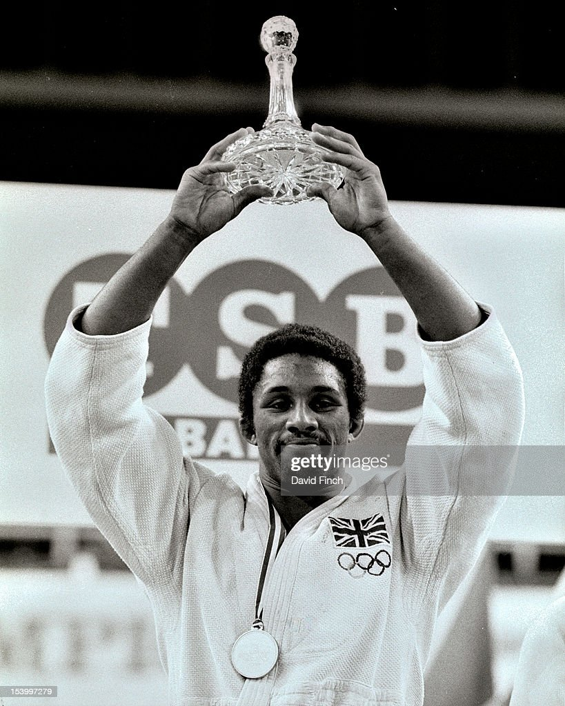 Kerrith Brown of Great Britain proudly poses for the cameras after winning the u71kgs gold medal at the TSB sponsored 1985 British Open held at Crystal Palace on April 13, 1985 in London, England.