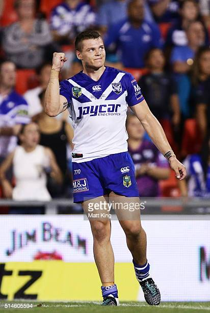 Kerrod Holland of the Bulldogs celebrates kicking a conversion to win the game during the round two NRL match between the Penrith Panthers and the...