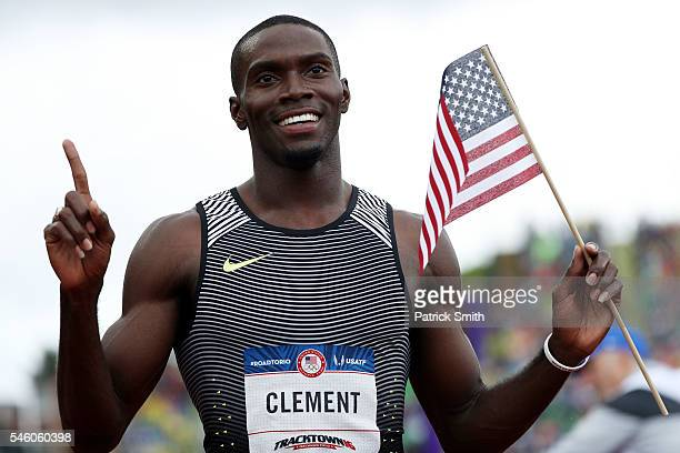 Kerron Clement first place celebrates after the Men's 400 Meter Hurdles Final during the 2016 US Olympic Track Field Team Trials at Hayward Field on...