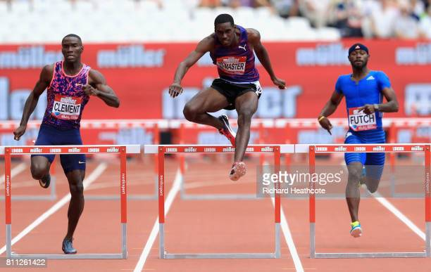 Kerron Clement of the United States and Kyron McMaster of the Virgin Island compete during the Muller Anniversary Games at London Stadium on July 9...