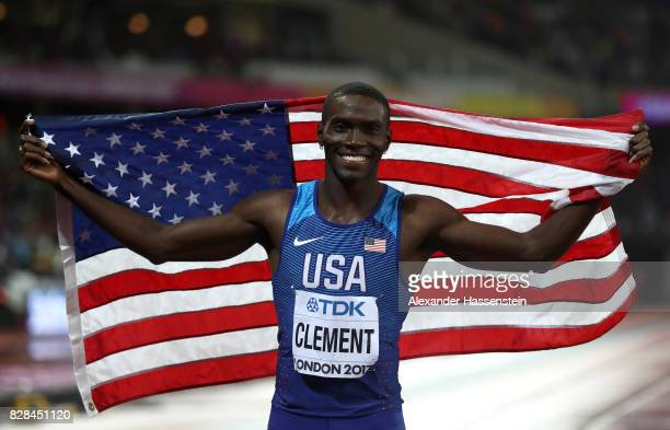Kerron Clement of the United States celebrates after winning bronze in the Men's 400 metres hurdles final during day six of the 16th IAAF World...