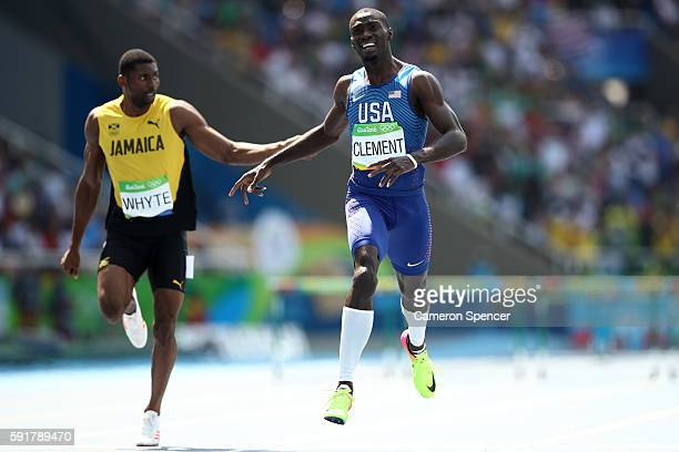 Kerron Clement of the United States finishes ahead of Annsert Whyte of Jamaica during the Men's 400m Hurdles Final on Day 13 of the Rio 2016 Olympic...