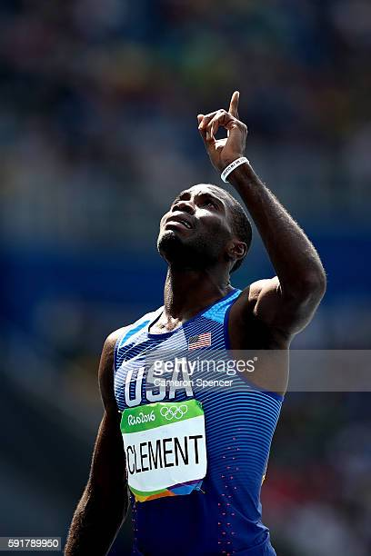 Kerron Clement of the United States reacts after placing first in the Men's 400m Hurdles Final on Day 13 of the Rio 2016 Olympic Games at the Olympic...